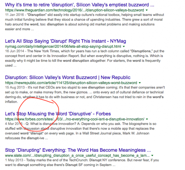 Google search results for disruption
