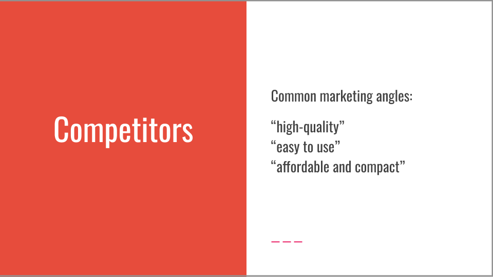 Digital transformation copywriter competitor research presentation slide